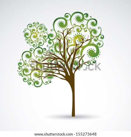 Beauty tree over gray background vector illustration - stock vector
