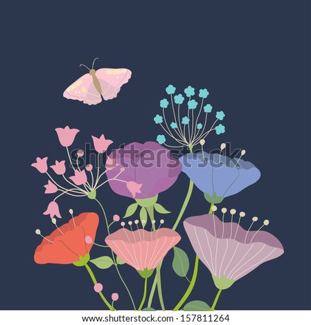 Beauty vector postcard in dark tones. Summer illustration with bright flowers and butterfly. Ideal for celebration card or poster - stock vector