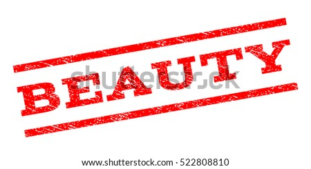 Beauty watermark stamp. Text tag between parallel lines with grunge design style. Rubber seal stamp with unclean texture. Vector red color ink imprint on a white background.