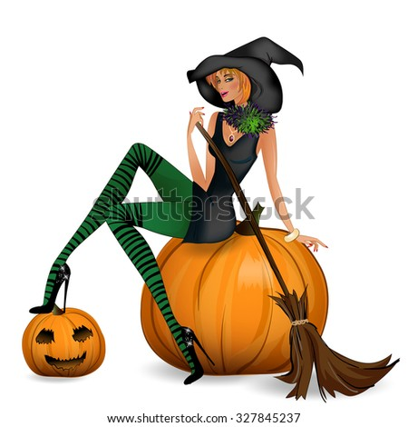 beauty witch sitting on a pumpkin on Halloween