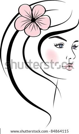 beauty woman face. design elements. Vector Illustration - stock vector