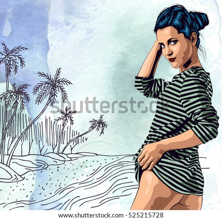 Beauty woman on ocean beach, hand drawn. Watercolor paper background. Vector image.