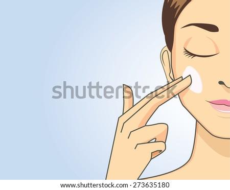 Beauty women apply cream on face for treatment skin - stock vector