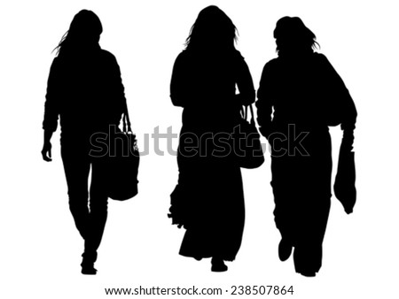 Beauty young girls on white background - stock vector