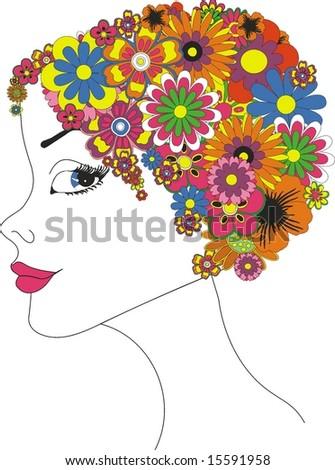 beautyful girl in flower hairstylist - stock vector