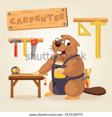 Beaver Carpenter with wood tool - stock vector