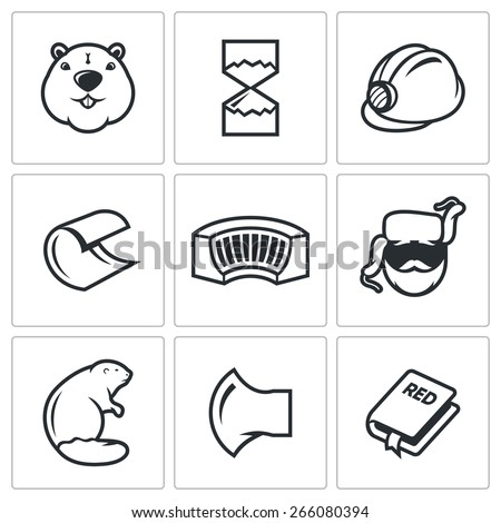 Beaver icons: river beast and his favorite hobby dam dam construction with the help of the teeth. Vector Illustration. - stock vector