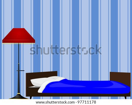 Bed and floor lamp - stock vector