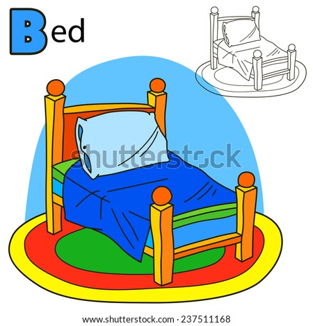 Bed. Coloring book page. Cartoon vector illustration. - stock vector