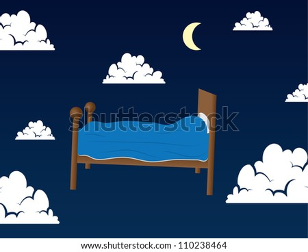 Bed floating in the clouds in someone's dream - stock vector