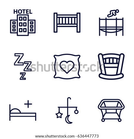 Bed icons set. set of 9 bed outline icons such as pillow with heart on it, playpen, trampoline, hotel