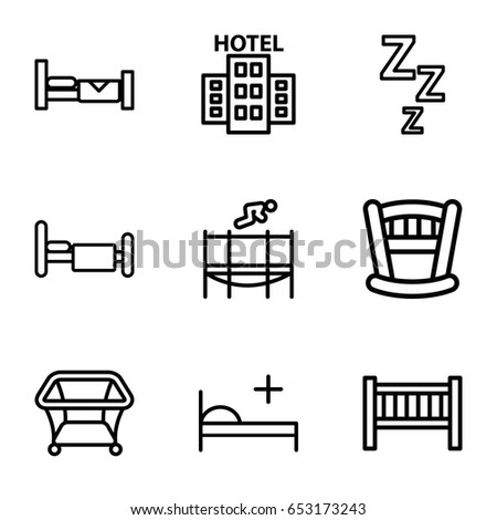 Bed icons set. set of 9 bed outline icons such as playpen, trampoline, hotel
