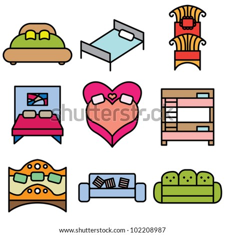 bed icons vector set