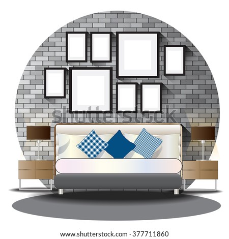 Bed Room Elevation Set With Brick Background For Interior