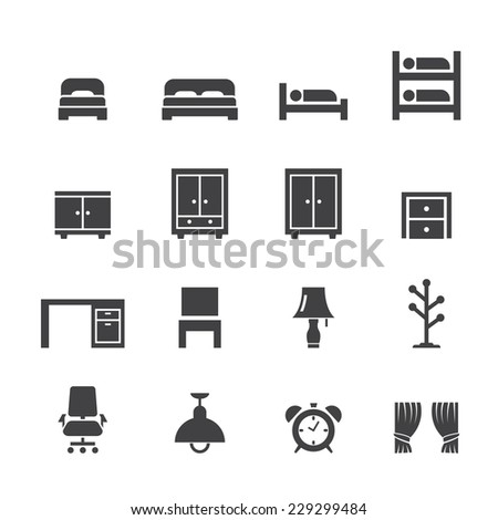 bed room icon - stock vector