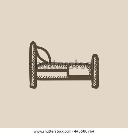 Bed vector sketch icon isolated on background. Hand drawn Bed icon. Bed sketch icon for infographic, website or app. - stock vector