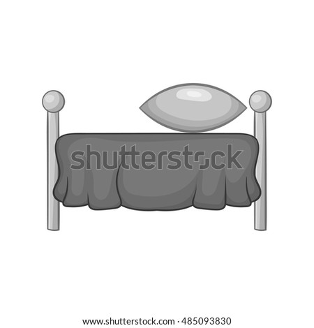 Bed with pillow icon in black monochrome style isolated on white background. Bedroom symbol vector illustration