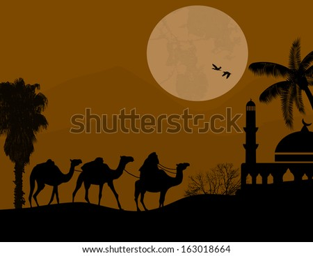 Bedouin camel caravan in arabian landscape on sunset, vector illustration - stock vector