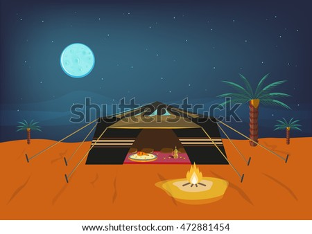 Bedouin tent at night time offering kabsa cultural food and coffee for guests. Editable Clip Art.