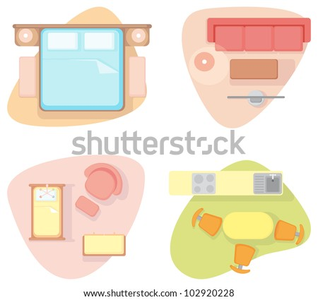 Bedroom, drawing room, nursery and kitchen - stock vector