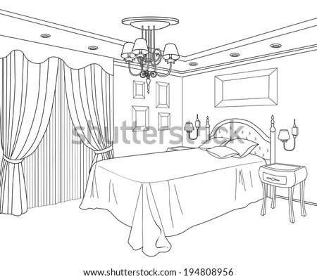 Bedroom Furniture Interior Outline Sketch Vintage 194808956