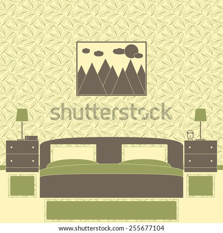 Bedroom interior in Japanese style with patterned wallpaper, one big low bed, three carpets, two chests of drawers, lamps, book, alarm clock, framed painting with mountains, sun and clouds on the wall - stock vector