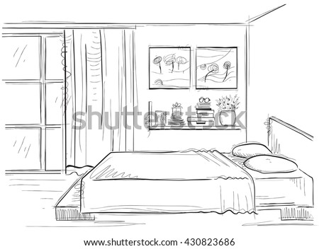 bedroom clipart black and white. bedroom interior.vector sketchy illustration of modern room isolated on white clipart black and
