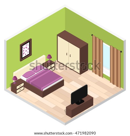 Bedroom Isometric Interior with Furniture. Vector illustration