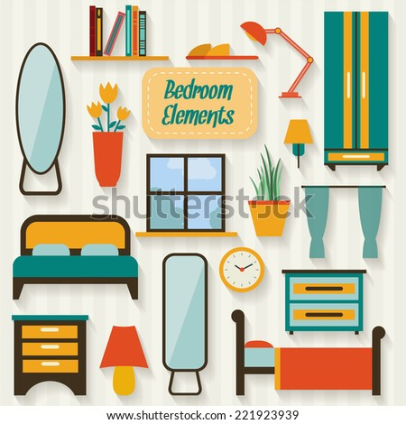 bedroom furniture clipart. bedroom objects and furniture long shadows. flat style vector illustration. clipart