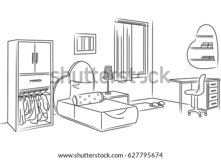 Bedroom Sketch Stock Images Royalty Free Images Vectors