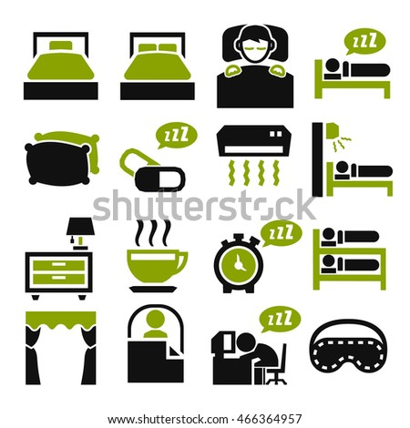 bedroom, sleep, sleeping icon set