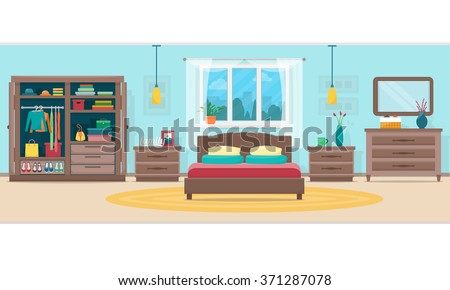Bedroom with furniture and window. Wardrobe with clothes and mirror. Flat style vector illustration. - stock vector