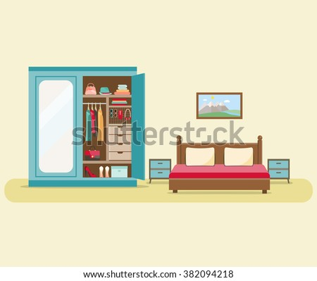 Bedroom with furniture interior set. Comfortable cozy bedroom with bed and wardrobe with clothes. Flat  vector illustration. - stock vector