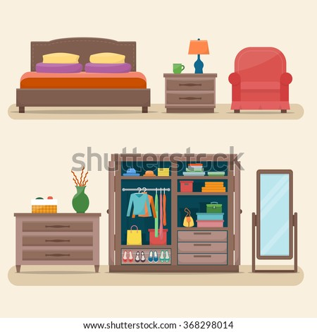 Bedroom with furniture interior set. Comfortable cozy bedroom with bed, lamp, wardrobe with clothes, table, mirror and chair. Flat style vector illustration.  - stock vector