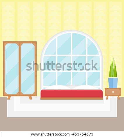 Bedroom With Mirrored Wardrobe, Bed, Table, Plant, Panoramic Window, Carpet,