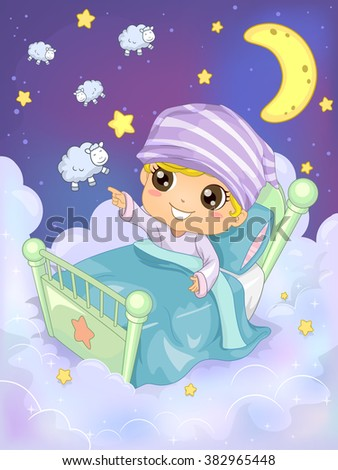 Bedtime Illustration of a Kid Trying to Count 10 Sheep to Sleep - eps10 - stock vector