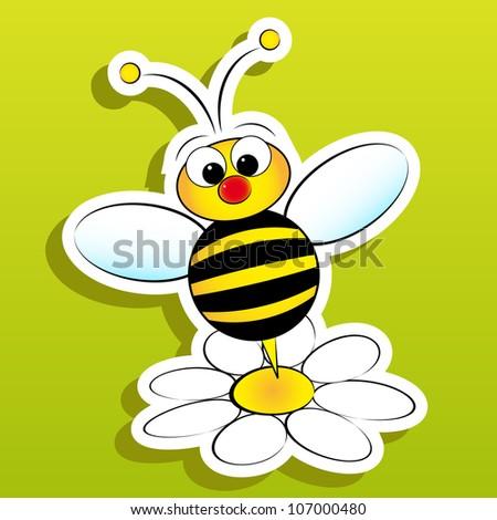 Bee and daisy - stock vector