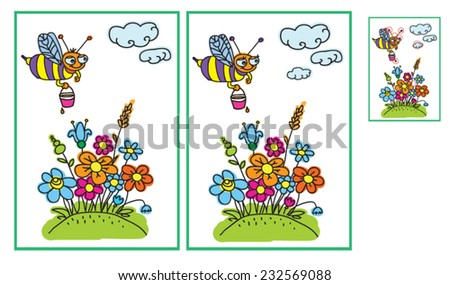 Bee and flowers in the meadow. Find ten differences - stock vector