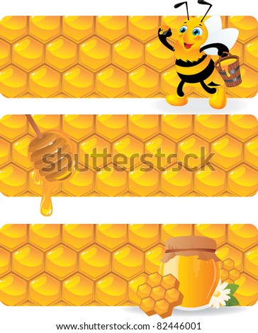 bee and honey banners