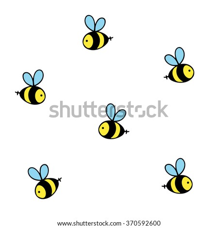 Bee. Bee icon. Ornament. Pattern. Honey bee. Isolated insect icon. Flying bee. Black bee with white wings.  - stock vector