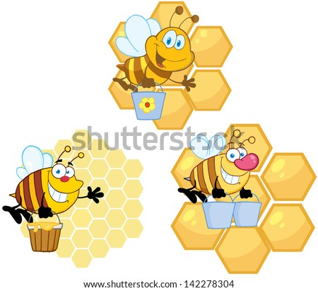 Bee Carrying Honey With Hive Background. Vector Collection - stock vector