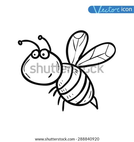 Bee cartoon bug, insect icon. vector illustration.