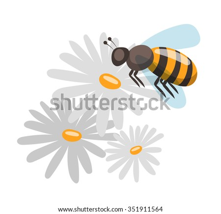 Bee cartoon style vector illustrations. Apiary vector symbols. Bee, honey, bee flowers icons. Honey natural healthy food production. Bee, flowers, beehive and wax. Honey bee vector icon. Bee vector - stock vector