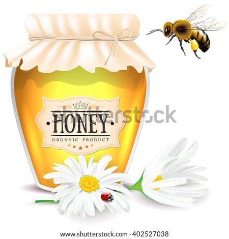 Bee, daisies and glass of honey with paper label - isolated on white background. Vector illustration. - stock vector