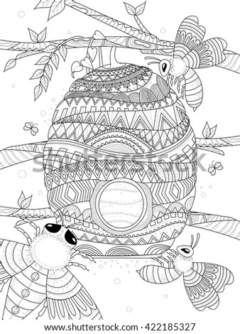 bee flies around honeycomb - adult coloring page