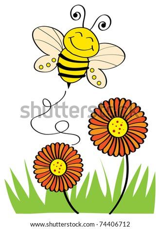 Bee Flying - stock vector