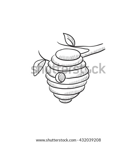 Bee Hive Sketch Icon For Web Mobile And Infographics Hand Drawn