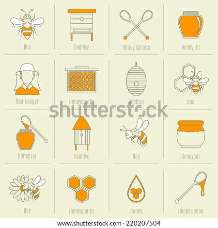 Bee honey icons flat line set with beehive spoon jar isolated vector illustration - stock vector