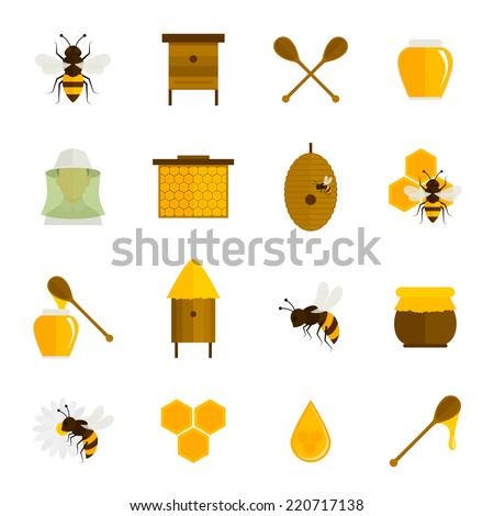 Bee honey icons flat set with food beekeeping agriculture elements isolated vector illustration - stock vector