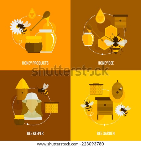 Bee honey icons flat set with products bee-keeper garden isolated vector illustration - stock vector